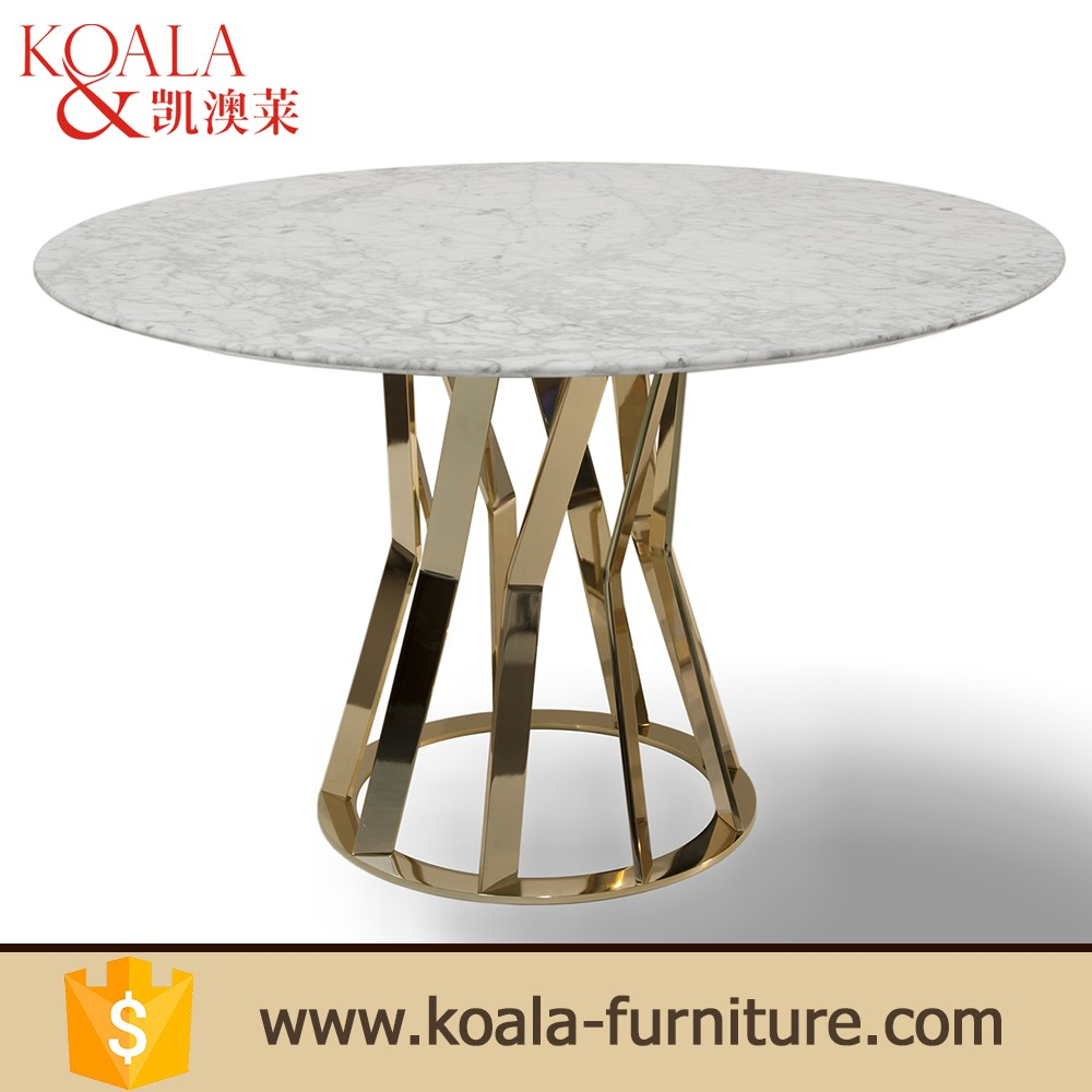 18mm Round Marble Stainless steel leg in gold gloss 201# tables dining