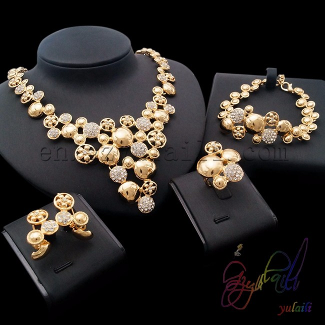 18k Gold Plated Expensive Jewelry Set Kundan Traditional