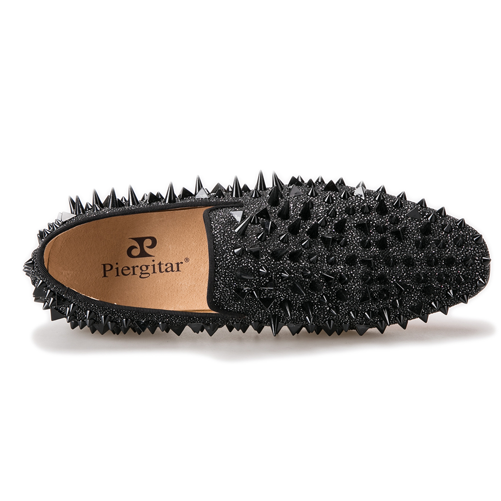 spikes leather shoes loafer men black 5qAxF1qE