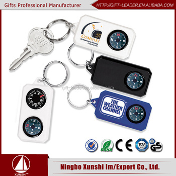 Plastic promotional mini compass keychain