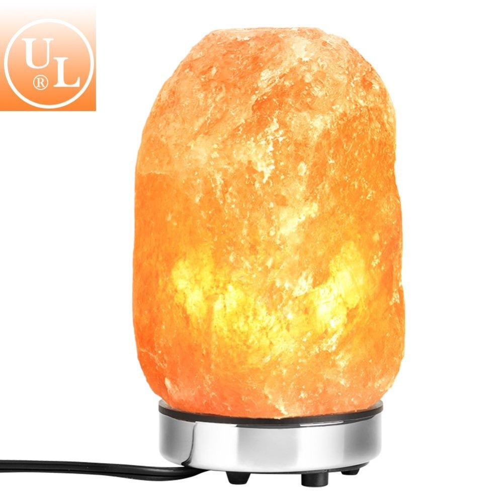 USA STOCK Himalayan Salt Lamp Hand Carved Natural Pink Crystal Rock Salt Lamps Metal Base/Bulb(8-9inch),Dimmer Control,UL-Listed
