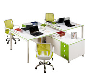 Comfortable Steel Frame MFC/MDF 4 Person Office Workstation
