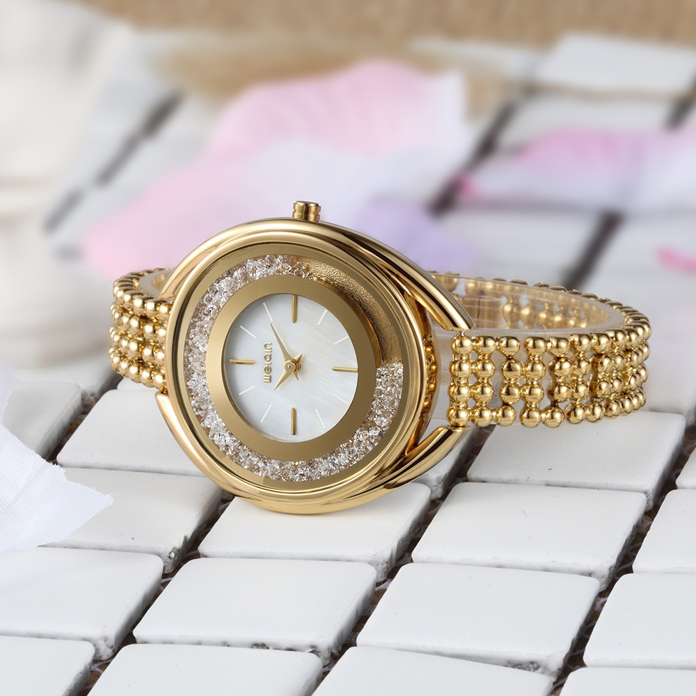 Newest full diamond watch pearl bracelet watch women ladies