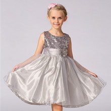 Paillette Girl Dress Princess Vestidos Evening Dress for Kids L-100