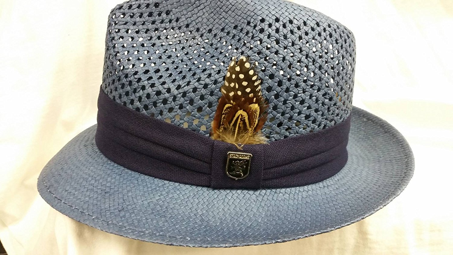 bbf2f681067 Get Quotations · Stacy Adams Sa607-navy Vent Fedora Summer Navy Hat Size Large  New