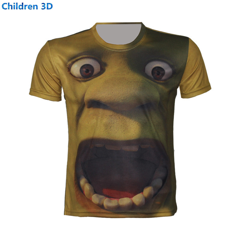 566e666b9 Get Quotations · The cartoon big strange 3D T-Shirt For Children Summer  Short Sleeve Lovely Casual T