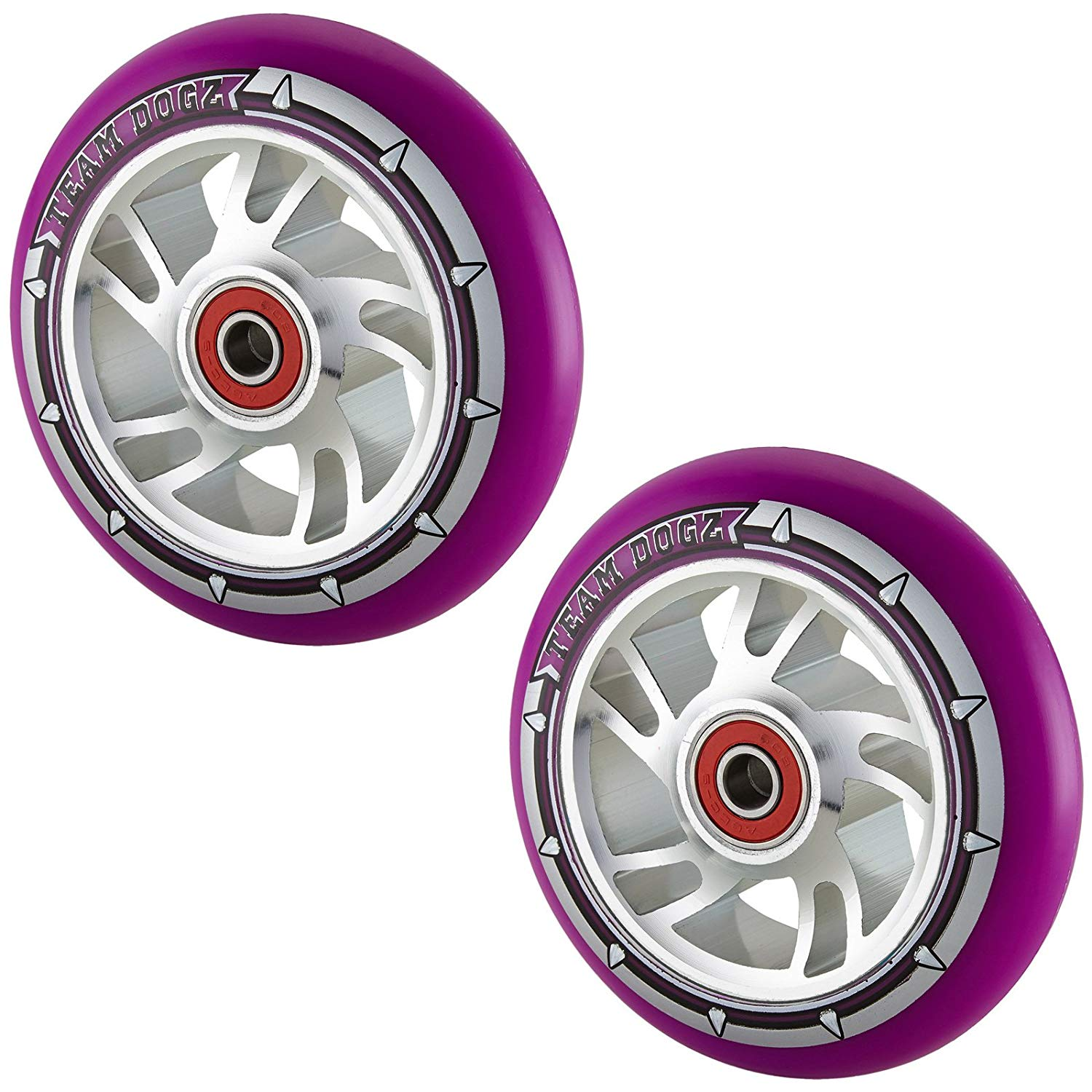 Team Dogz 100mm Swirl Scooter Wheels - Silver Cores Purple Tyres (Pair)