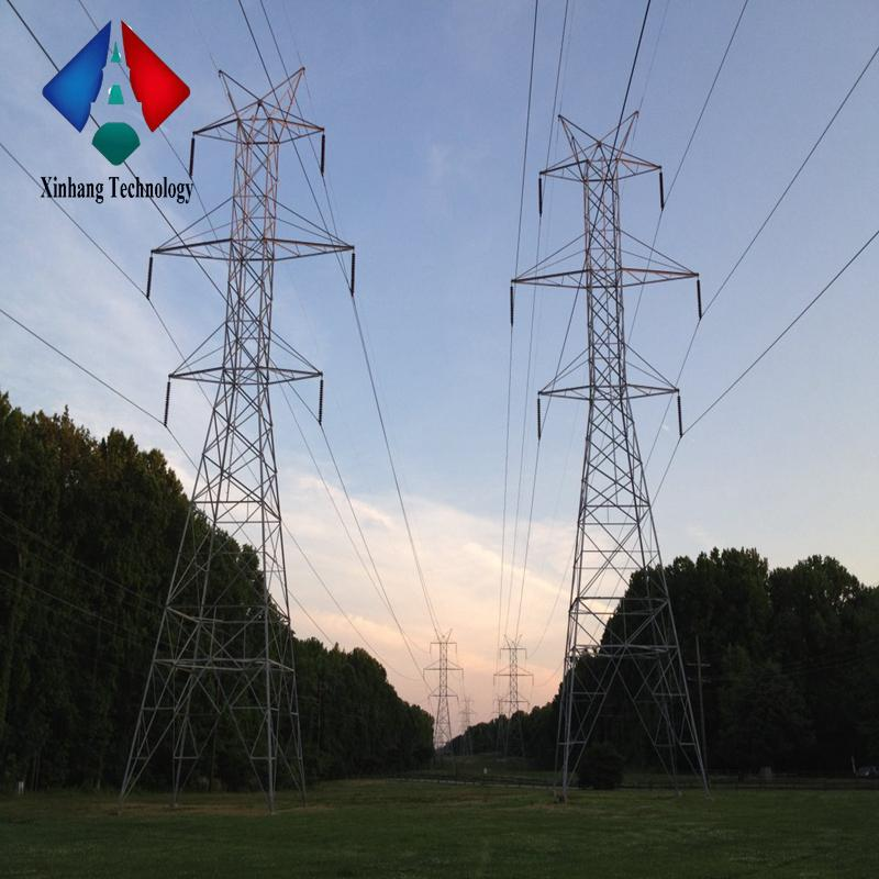 polygonal conical electric galvanized power monopole overhead transmission line steel lattice masts 132kv double circuit towers