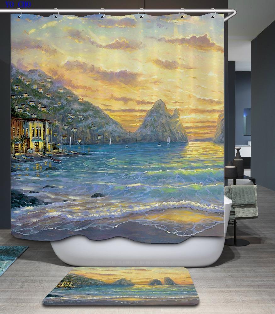 mit haken set leuchtturm bad vorh nge f r die bad gro handel gedruckt weihnachten stoff 3d. Black Bedroom Furniture Sets. Home Design Ideas