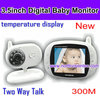 Two-way talk wireless 3.5 inch LCD screen and temperature monitoring digital baby monitor