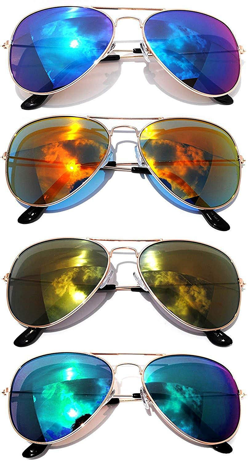 0c4d81a35dc24 Get Quotations · Classic Metal Aviator Sunglasses Mirror Lens Gold