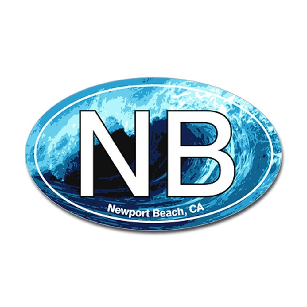 CafePress - NB Newport Beach Wave Oval Oval Sticker - Oval Bumper Sticker, Euro Oval Car Decal