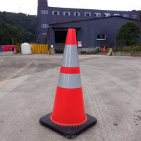 "28"" 7lbs Black Base Fluorescent Orange Flexible Soft Unbreakable PVC Road Traffic Safety Cone"