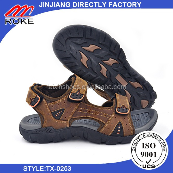 Genuine leather fabric male shoes high quality sandals for men