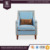New American Style Cozy Single arm sofa Solid Wood fabric sofa