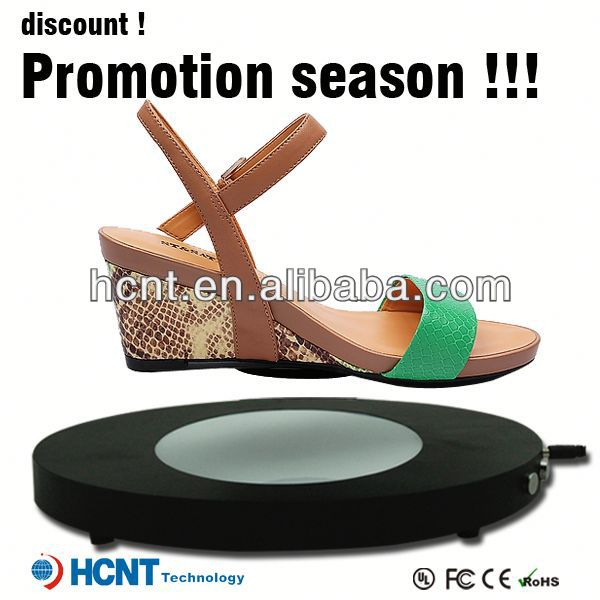 new invention ! magnetic levitating led display stand for shoe woman,black pearl shoes
