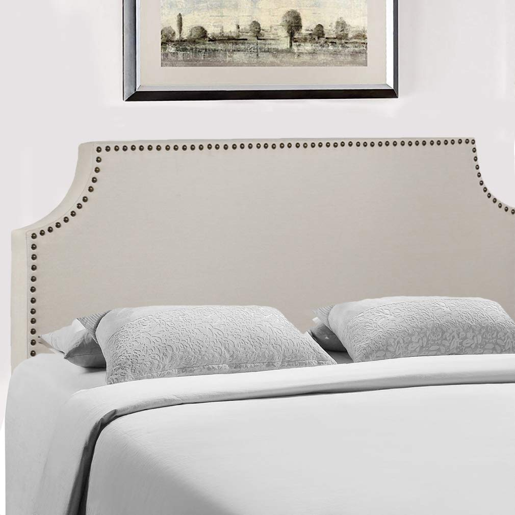 Headboard Fabric Upholstered Full/Queen Size Headboard with Modern Linen Tufted Heavy Duty with Nailheads in Beige