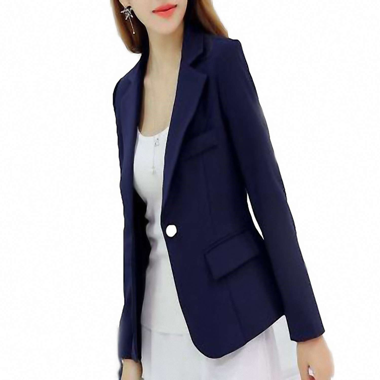 new concept c3aa0 dbe75 Get Quotations · Jongood Stylish Women Blazers and Jackets Small Women Suit  Korean Version (Gray Blue