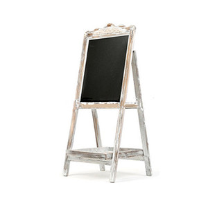 Vintage Style White Washed Brown Wood Chalk Board Easel Freestanding Guest Message Sign Board