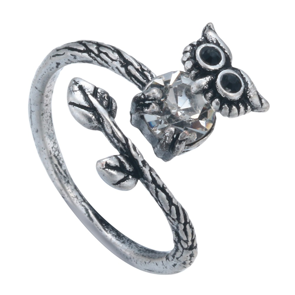 Lucky Owl Animal Vintage CZ Diamond Ring Retro Burnished Bird Ring Jewelry Gift for Women and Girls