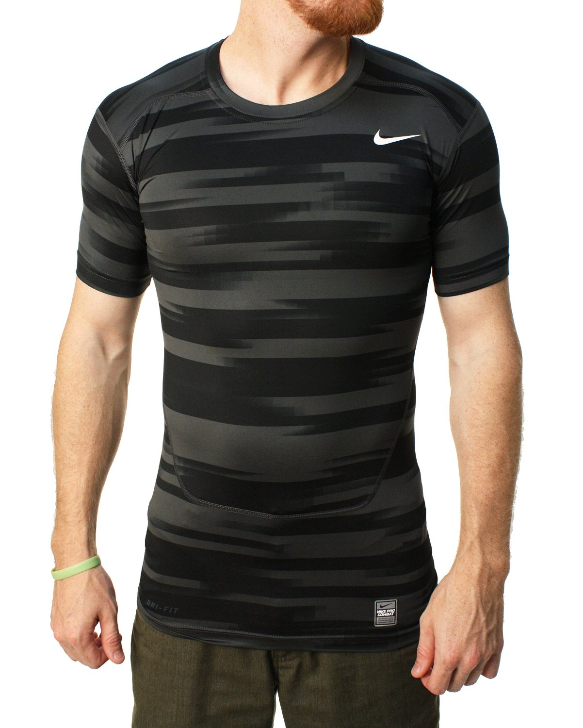 7453da85657bf Nike Men s Dri Fit Pro Combat Frontline Striped Compression T Shirt Black  Grey Large