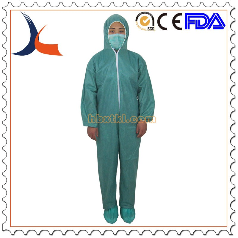 best selling breathable premium SMS green hooded disposable waterproof coverall