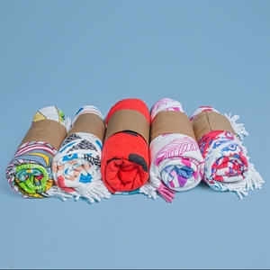 100% cotton cut pile printing Foreign trade round beach towels