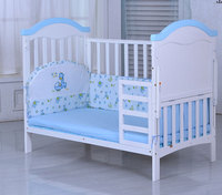Best selling solid pine wooden baby bed design/baby swing cot/baby crib attached adult bed