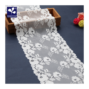 flower Pattern white elastic tulle front jacquard flat lace trim for lingerie