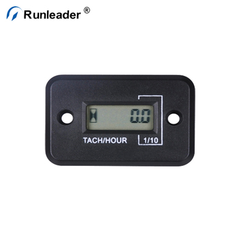 Runleader Digital Waterproof Inductive Motorcycle Rpm Meter Tach Hour For Gasoline Engine Lawn Mower Chainsaw