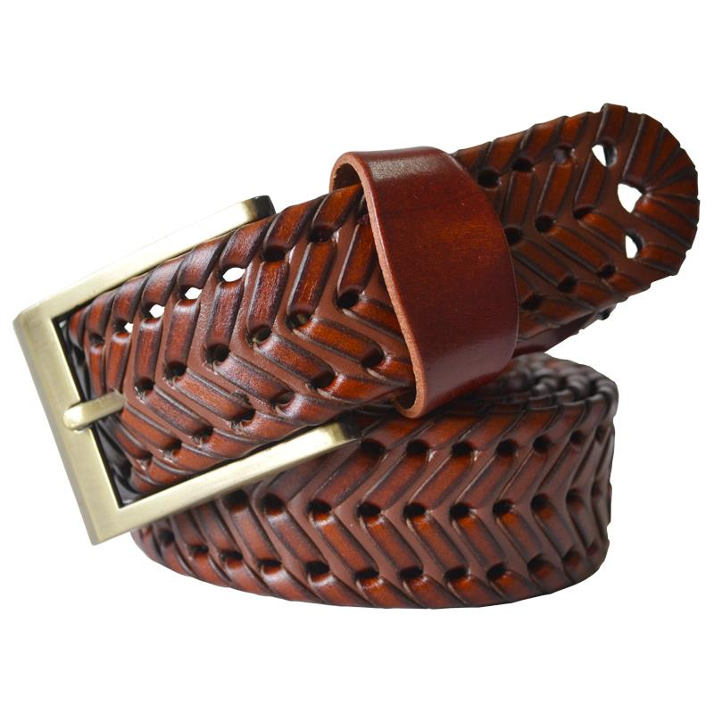 2015 New Fashion Male genuine leather belt Men braided Cow skin straps Mens belts Luxury designer Brown Wide waistband Black 115