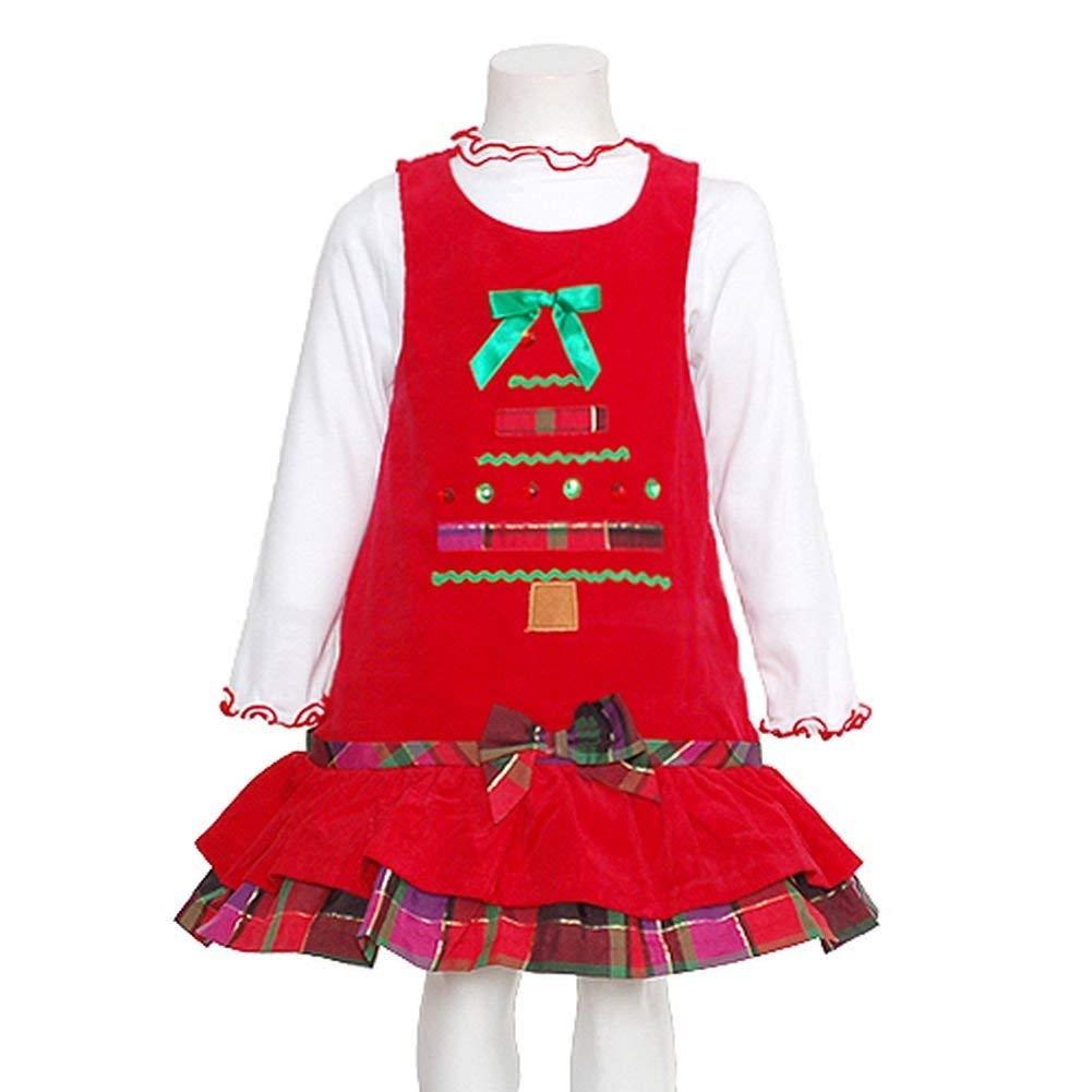 83cb9a04bcafa Get Quotations · Bonnie Jean Girls Christmas Tree Corduroy Jumper Dress Set,  Red, 4 - 6X