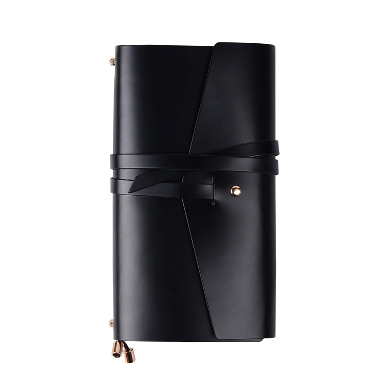 Long Type Black Genuine Leather Handmade Journals Diary Leather Notebook Custom