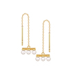 14K solid gold threader Drooping triple pearl real gold broom bar earrings