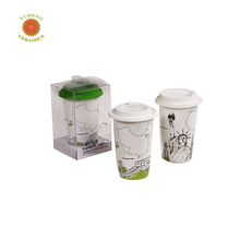 Fine quality insulated double wall decal travel souvenir custom coffee ceramic mug with silicon lid