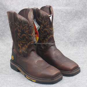 Square head Top quality leather cowboy boots steel toe Knight Goodyear working boots