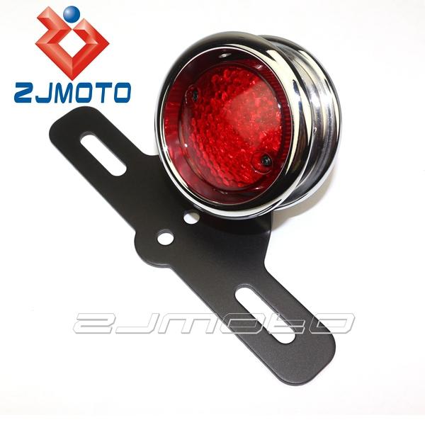 LED Red Tail Brake Light Lamp License Plate Bracket For Harley Chopper Bobber