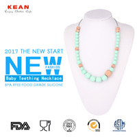 Summer bone shape colorful ceramic and Wooden chunky bead silicone teething necklace for babies
