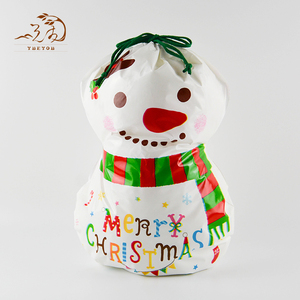 Customizable Cute Snowman Shape Plastic Drawstring Bag