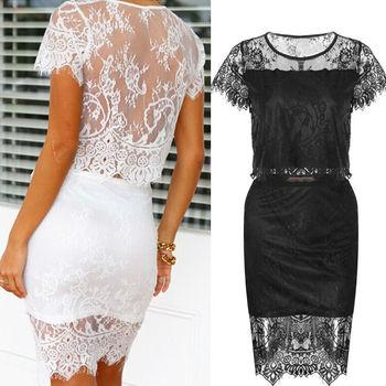 2f09a23af9 Walson Ladies Lace Tops + Skirt 2 pcs Set fancy Lace Crop skirt top Set  designs