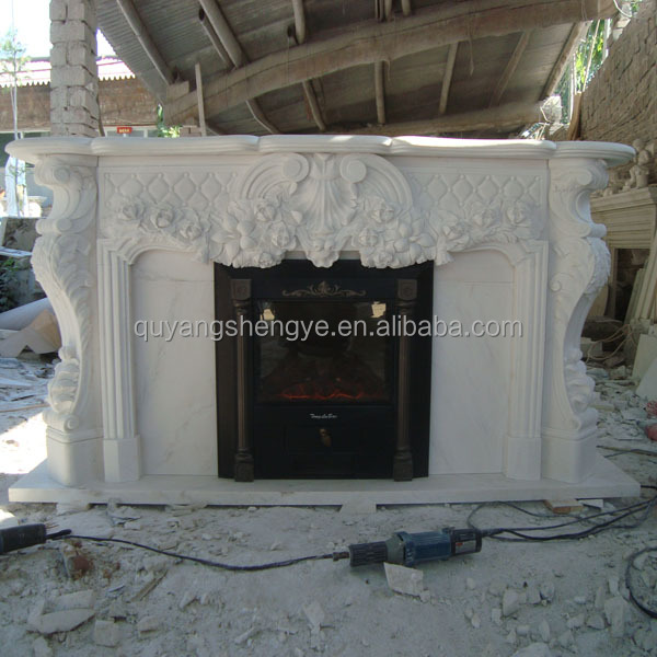 Pure White Marble Flower Carving Electric Fireplaces Mental for Sale