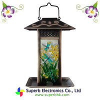 Solar Lantern Bird Feeder Featured Made of Metal and Glass