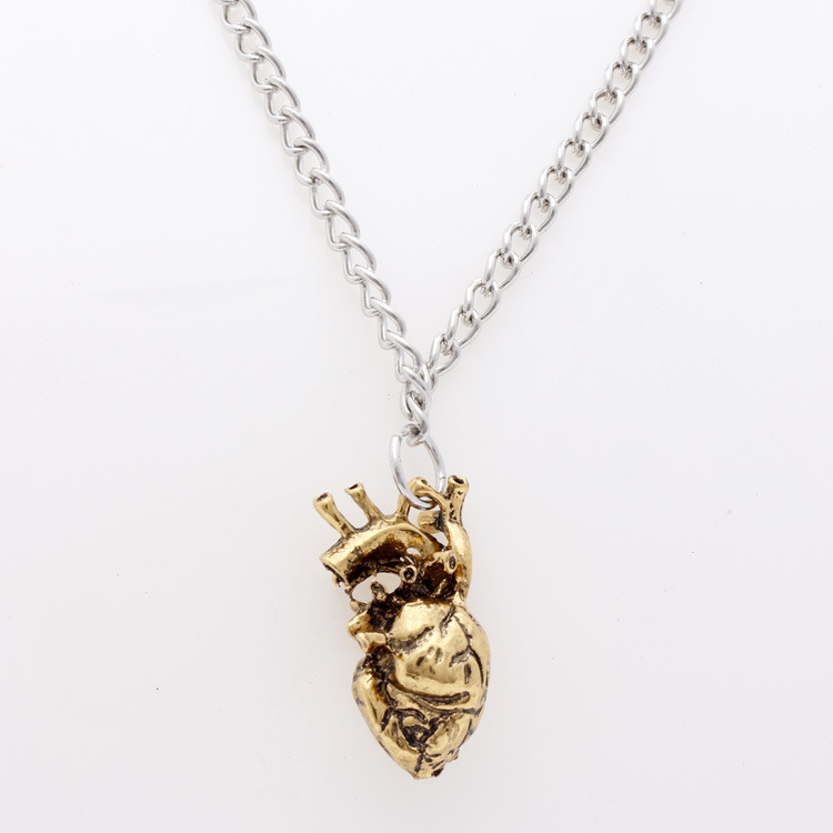anatomical heart necklace vintage silver and bronze pendant jewelry for men