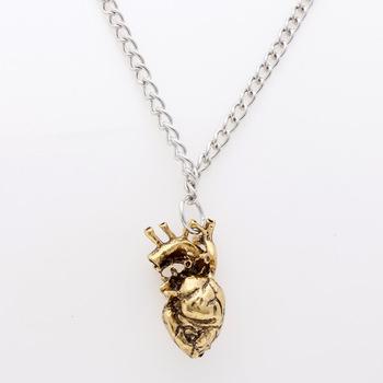 Collar Anatómico Del Corazón Plata Y Bronce De La Vendimia Colgante ...