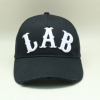Distressed Baseball Cap 5 Panel Washed Black Mesh Hat With 3D Embroidery LOGO