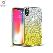 Wholesale  gradient color  3d diamond air bag mobile phone accessories case for  iphone x,  TPU+PC for iphone 10 case