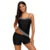 2019 Fashion Striped Trim Black 2pcs Tankini Bathing Suit Custom Swimwear