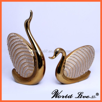 Modern Home Decor Items Gold Ceramic Swan Design China Whole