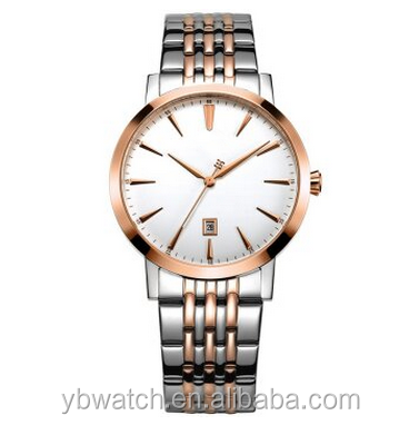 YB watch unisex simple mesh rose gold italian leather watch straps genuine leather watch