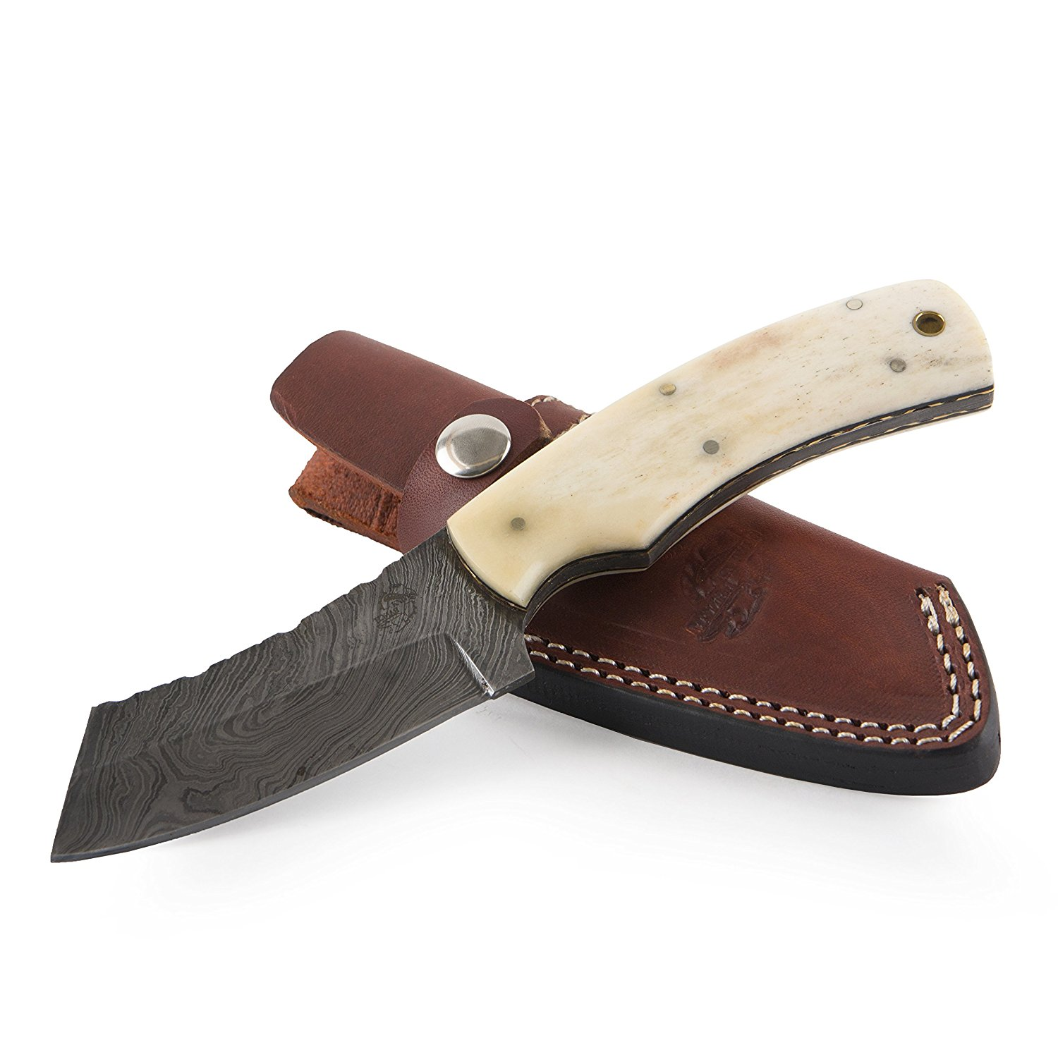 "Knives Ranch Damascus Steel Knives 8"" Fixed Blade Knife – Bone Handle with Brass Liner INCLUDES: Leather Vertical Belt Loop Sheath"